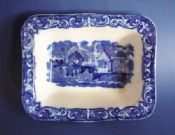 George Jones Blue and White 'Abbey' Ware Single Shredded Wheat Dish c1939 #1